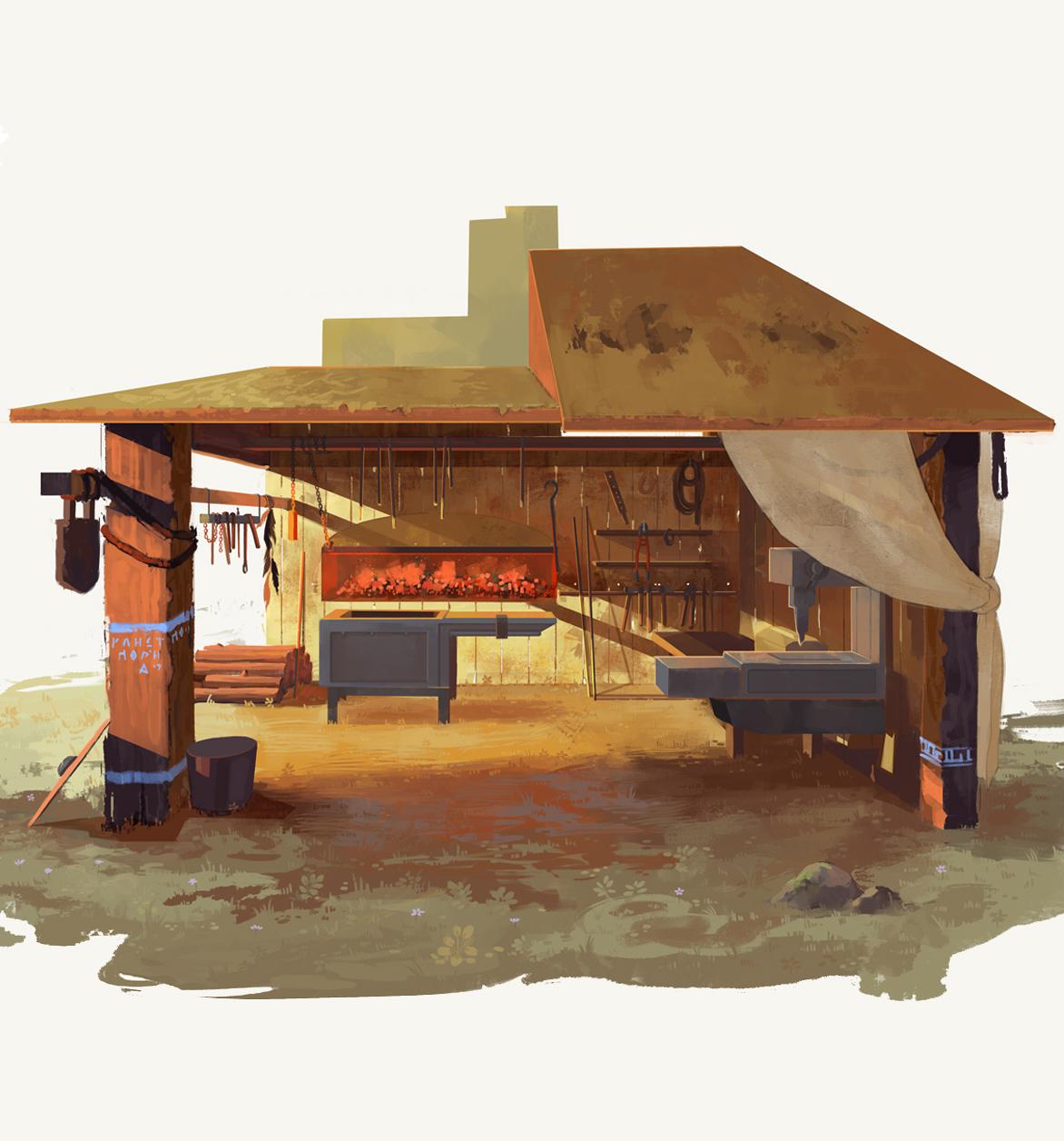 Concept art de una forja en Kluest